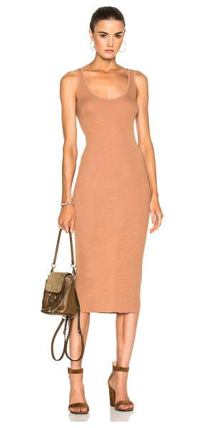 Enza Costa Rib Tank Dress in tan - 87% viscose 10% silk 3% lycra. Made in USA. Machine...