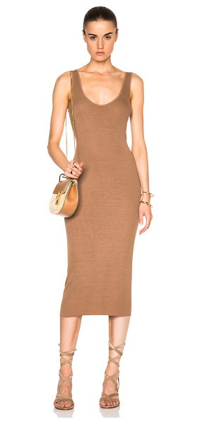 Enza Costa Rib Tank Dress in neutrals,brown - 87% viscose 10% silk 3% lycra.  Made in USA.  Unlined. ...