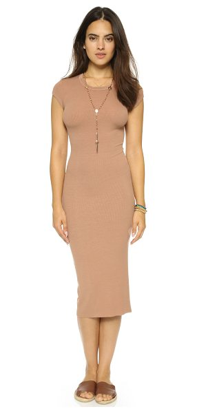 Enza Costa Ribbed cap sleeve dress in camel - A ribbed Enza Costa midi dress with a figure hugging...