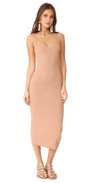 Enza Costa ribbed tank dress in camel - A formfitting Enza Costa dress composed of soft jersey....