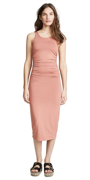 Enza Costa side ruched midi tank dress in desert sand - Fabric: Jersey Gathered side seams Sheath dress...