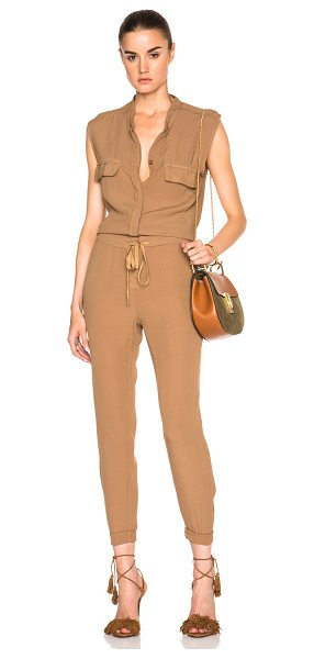 Enza Costa Sleeveless jumpsuit in brown - 100% rayon.  Made in USA.  Hidden button front closures....