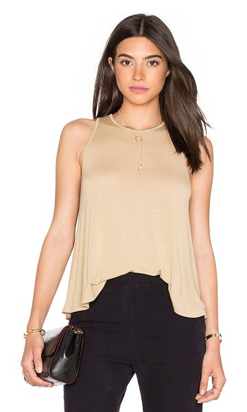 Enza Costa Stretch Crepe Jersey Trapeze Tank in brown - 94% viscose 6% elastan. Hand wash cold. Back keyhole...