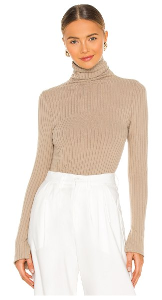 Enza Costa sweater rib split sleeve fitted turtleneck in taupe