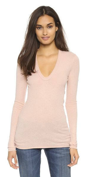 Enza Costa U neck top in nude - This long Enza Costa tee has a soft feel in a fine...