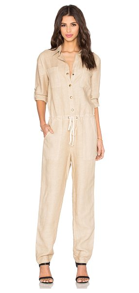 Enza Costa Utility jumpsuit in beige - Tencel blend. Hand wash cold. Partial front button...