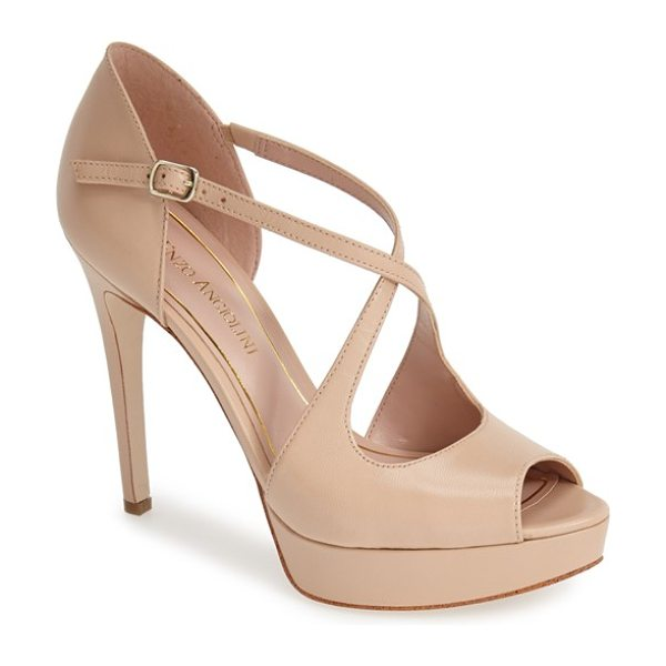 Enzo Angiolini abalina platform pump in natural leather - A peep-toe platform sandal accented with slim, crossed...