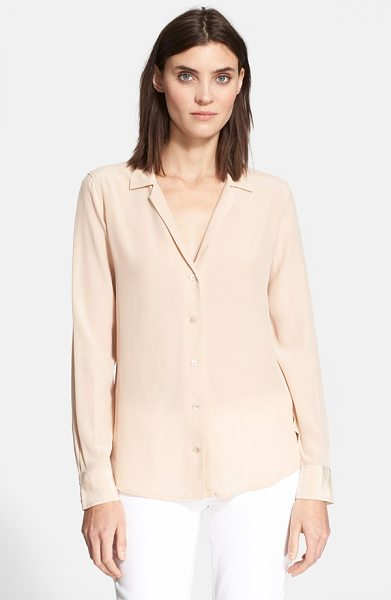 Equipment adalyn silk blouse in nude - A pajama-inspired collar and deep V-neck define this...