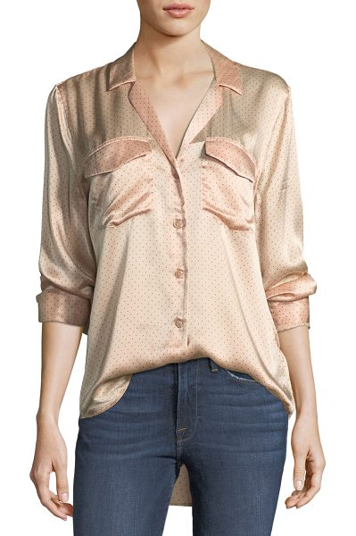 "EQUIPMENT Ansley Button-Front Long-Sleeve Silk Charmeuse Blouse - Equipment ""Ansley"" dotted charmeuse blouse. Notched..."