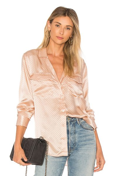 Equipment Ansley Polka Dot Shirt in rose - 100% silk. Dry clean only. Button front closure. Breast...