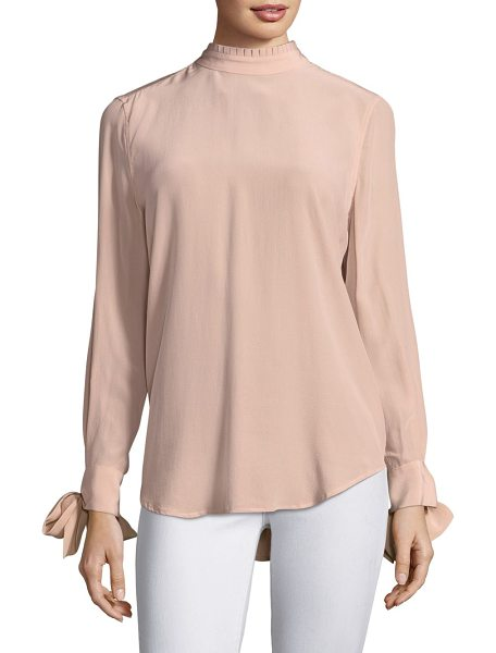 Equipment aurora silk blouse in french nude - Fashionable silk blouse enhanced with tie detailing....
