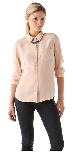 Equipment brett blouse in nude - This silk blouse features a fold over collar and an 8...