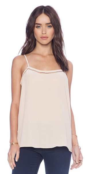 Equipment Cara embroidery stitch cami in beige - 100% silk. Dry clean only. Adjustable shoulder straps....