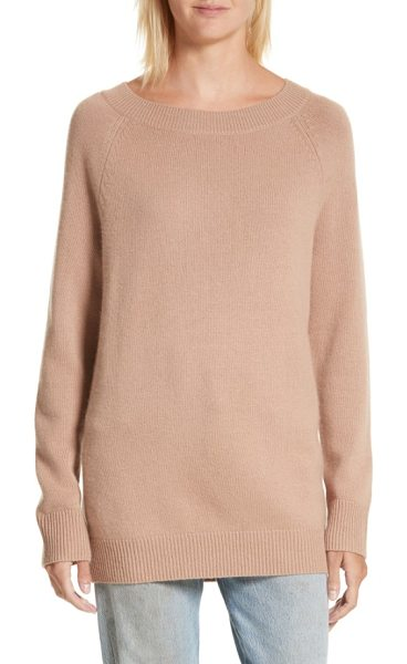 Equipment cody wool & cashmere boatneck sweater in camel - A shoulder-spanning boat neck begins the comfy oversized...