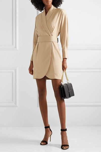 Equipment corben belted crepe wrap mini dress in sand