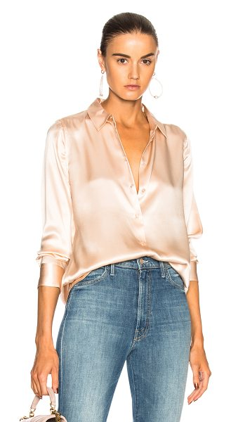 Equipment Essential Top in french nude - 100% silk. Made in China. Dry clean only. Button front...