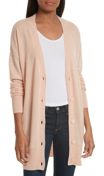 Equipment gia cashmere button cardigan in nude - Super cozy and wonderfully oversized, a V-neck boyfriend...