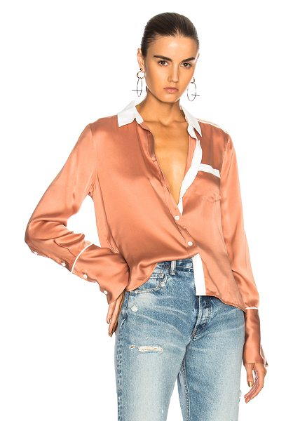 Equipment Huntley Top in pink - 100% silk.  Made in China.  Dry clean only.  Button...