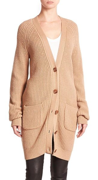 Equipment Kathy wool & cashmere cardigan in camel - This elongated cardigan, crafted from wool and cashmere,...