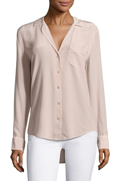Equipment keira silk piped blouse in nostalgia rose - Silk blouse with contrast trim and hi-lo hem. Notch...