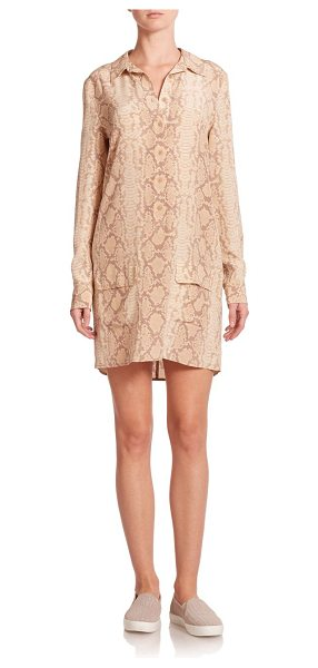 Equipment Lucida silk python-print shirtdress in khaki - A striking python print and fluid silk construction lend...