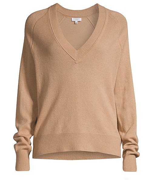 Equipment madalene v-neck cashmere sweater in camel