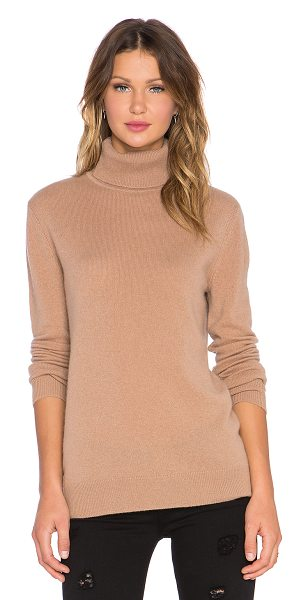 Equipment Oscar Turtleneck Cashmere Sweater in tan - 100% cashmere. Dry clean only. Ribbed trim. EQUI-WK143....