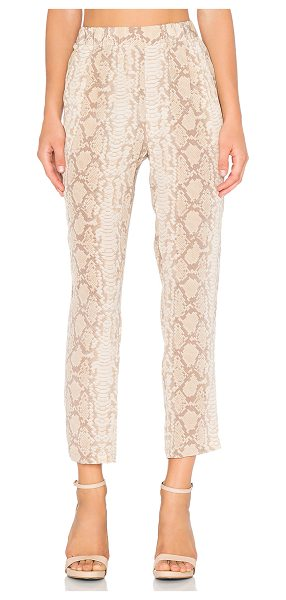 Equipment Sand snake hadley pant in beige - 100% silk. Dry clean only. Elasticized waist. Side slant...