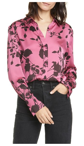 Equipment sedienne reverse floral print satin blouse in pink