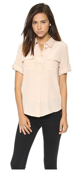 Equipment short sleeve slim signature blouse in nude - Exclusive to Shopbop. A classic Equipment button-down in...