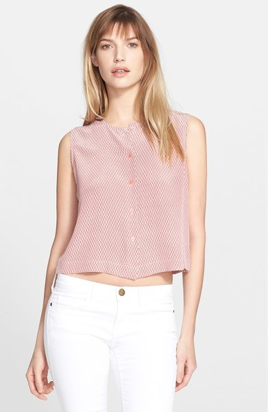 Equipment sienna crop print silk top in bright white/ sunkissed