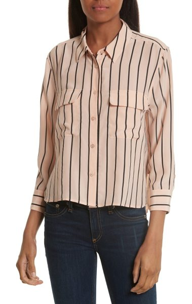 Equipment signature crop stripe silk shirt in french nude/ true black - A favorite silk style refreshed with sophisticated...