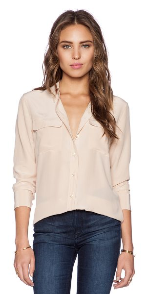 Equipment Slim Signature Blouse in peach - 100% silk. Dry clean only. Front button closures. Front...