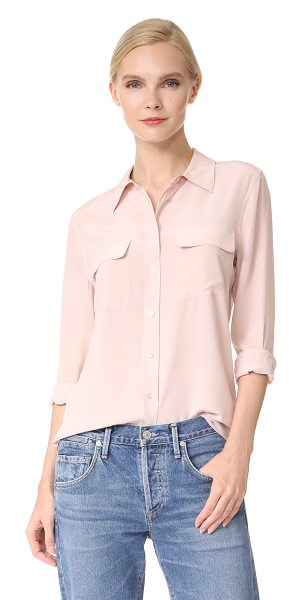EQUIPMENT slim signature blouse - A classic Equipment shirt in fine silk. Flap front...