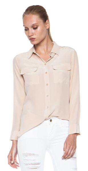 Equipment Slim Signature in nude - 100% silk. Made in China. Button front closures. Breast...