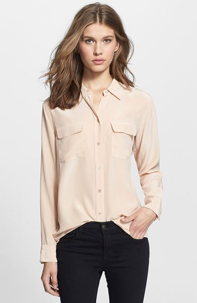 Equipment slim signature silk shirt in nude - Deep, shimmering color further refines a supersoft...