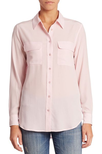 Equipment slim signature silk shirt in petalpink - Timeless silk staple in pop-bright hue. Point collar....