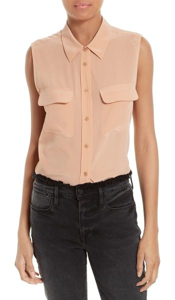 Equipment 'slim signature' sleeveless silk shirt in coral clay - A slender, sleeveless silhouette updates a beloved...