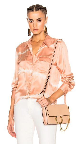 Equipment Slim Signature Top in coral clay & coconut - 100% silk. Made in China. Dry clean only. Button front...