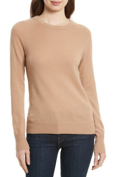 Equipment 'sloane' crewneck cashmere sweater in nutmeg - A relaxed silhouette with an elongated hemline creates a...