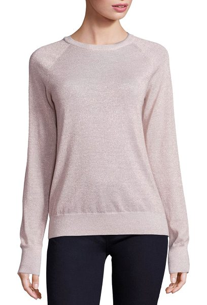 Equipment sloane lurex crewneck sweater in ivory pink - Lurex details highlight this elegant sweater. Crewneck....