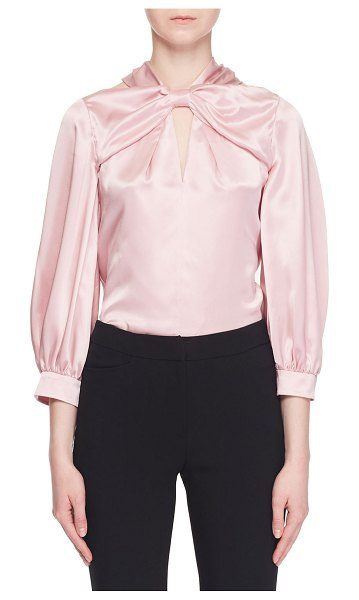 Erdem Bow-Neck Bracelet-Sleeve Cold-Shoulder Silk Blouse in pink - Erdem blouse in silk crepe de chine. Bow neckline;...