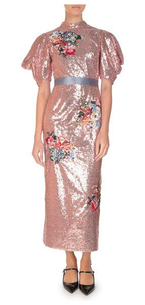 "Erdem Emery Floral Sequined Midi Dress in pink - Erdem ""Emery"" fully sequined dress with floral..."