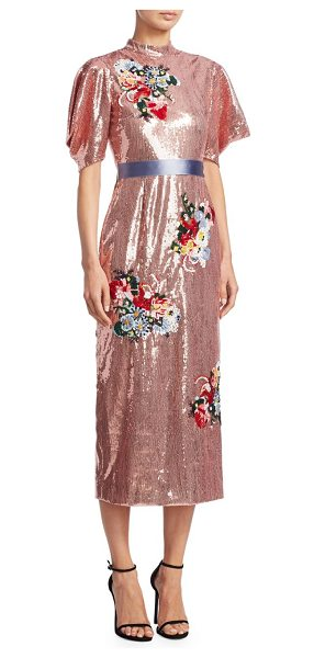 Erdem emery sequin midi dress in pink - Radiant sequin embellished midi dress with floral...