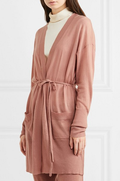Eres interdit belted cashmere cardigan in antique rose - Eres creates the kind of comfortable clothing that can...