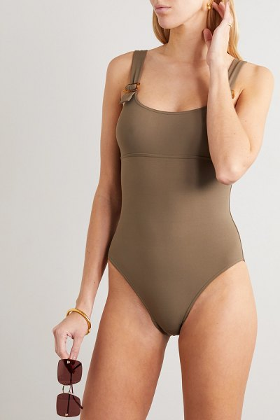 Eres locket embellished swimsuit in taupe