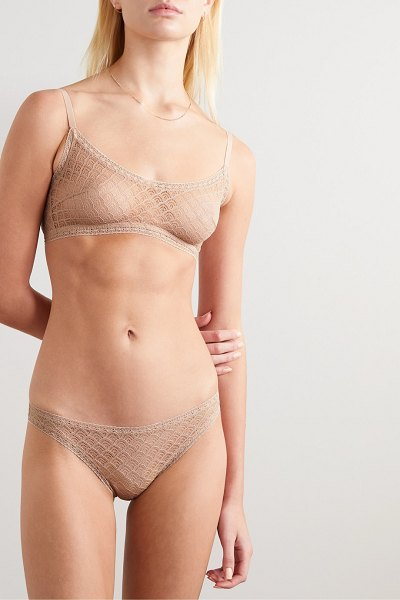 Eres torsade stretch-leavers lace briefs in neutral