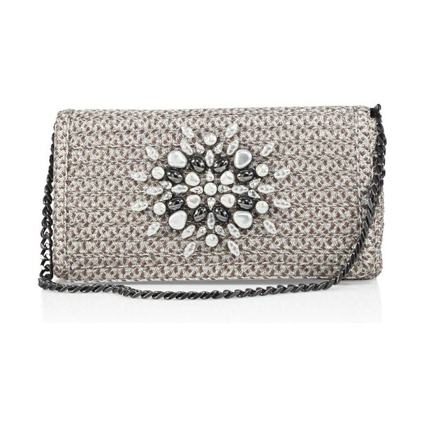 Eric Javits devi embellished shoulder bag in taupe glow - Woven Squishee? envelope shoulder bag with stone...