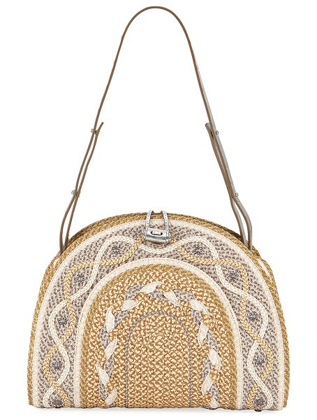 Eric Javits Jiva Straw Half-Moon Shoulder Bag in peanut frost - Eric Javits straw shoulder bag with woven patterned...