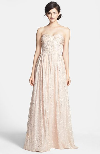ERIN Erin Fetherston coralie foiled silk chiffon gown in blush - An enchanting chiffon gown aglow in a metallic print is...